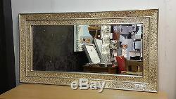 Grand Craquelé Champagne Verre Mosaïque Miroir Mural Double Cadre Fait 128X68cm