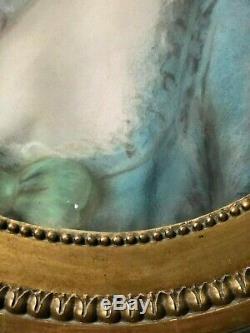 Grand Pastel De Forme Ovale Portrait Femme 18 Eme Siecle Cadre Bois Dore