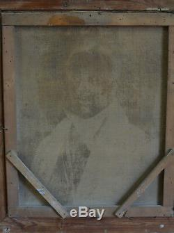 Grand Tableau Ancien Portrait d'homme au Gilet sv CLaude Dubufe cadre bois doré