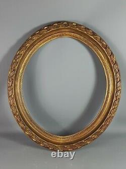 Grand ancien cadre ovale bois sculpté style Louis XVI 72x64 Feuillure 60x51cm SB