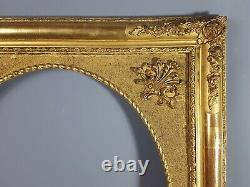 Grand cadre ancien vue ovale bois stuc doré feuillure 63,9x54,9 cm
