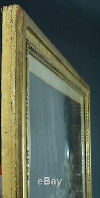 Grand cadre bois doré Louis XVI sculpté perles Saucisse Dessin gravure Frame x 2