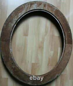 Grand cadre ovale ancien 75cm x 63cm XIXème Bois Stuc sculpté et doré