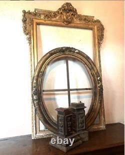Grand cadre ovale bois doré 19éme et l'ancien châssis de toile