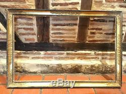 Grand cadre rectangulaire à palmettes doré à la feuille d'or fin XVIIIe / XIXe