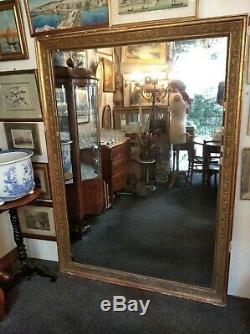 Grand miroir ancien XIX au mercure cadre stuc doré feuille 170 X 124 cm