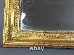 Grand miroir cadre XIXe s. Bois et stuc doré à la feuille d'or 68x53 cm SB
