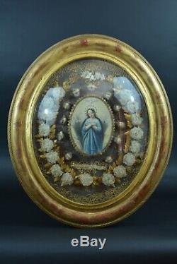 Grand reliquaire Cadre Ancien Bois doré Couvent 11 Saints Multi relics Nun work