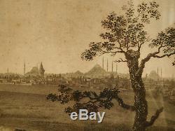 Grande gravure Ville de Constantinople (Istanbul), cadre bois doré époque 1840