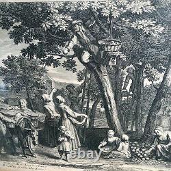 Gravure 18 Eme Siecle Septembre La Recolte Des Fruits Cadre En Bois Dore N°2