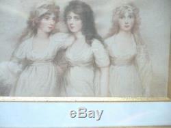 Gravure En Couleur 3 Jeunes Femmes 19 Eme Siecle Cadre En Bois Dore