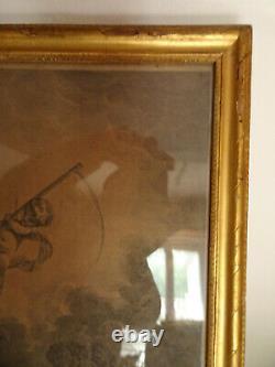Gravure François Bouchet. Cadre en bois sculpté et doré. XVIII°