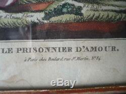 Gravure Le Prisonnier D' Amour Directoire / Empire Debut 19 Eme Cadre Bois Dore
