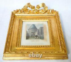 Gravure Louis XVI au Temple, cadre en bois doré XIXe siècle, souvenir historique