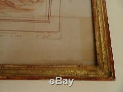 Gravure a la manière de Sanguine d'après Boucher. Cadre en bois doré. XVIII°