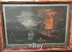 Gravure ancienne nocturne, cadre ancien bois doré