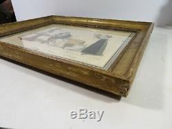 Gravure couleur mode Empire Restauration Chapeau de Longchamp cadre bois doré