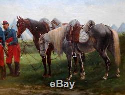 Guerre de 1870 BOMBLED Cavaliers Français au repos, HSP, cadre en bois doré