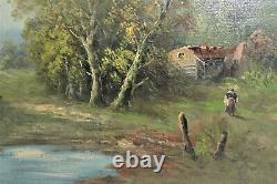 HST TABLEAU PAYSAGE ANIME signé L HENRY réentoilé CADRE BOIS Doré XIXe Peinture