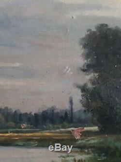 Huile paysage Les bords de l'Aisne près Soissons 19ème cadre bois doré à canaux