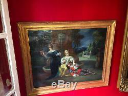 Huile sur toile XIXe Scène musicale dans un parc Cadre en bois doré