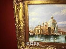 Huile sur toile XIXe Vue de Venise Beau cadre en bois doré