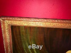 Huile sur toile de la fin du XIXe Nu féminin Cadre en bois doré