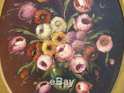 Huile sur toile du XIXe siècle Bouquet de fleurs signé Cadre en bois doré
