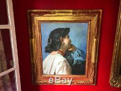 Huile sur toile fin XIXe Portrait de dame pensive Beau cadre en bois doré