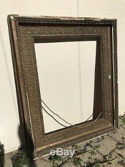 Important Ancien Grand Cadre En Bois Stuc Dore Lieres & Oves 91x63 Frame Antique