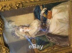 Importante Miniature Cadre Bois Doré Coiffe Elegante XIX ème Siècle Peinture