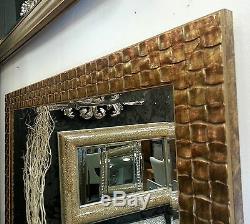 John Lewis Doré Mosaïque Miroir Mural Bois Solide Cadre Bord Biseauté 66x92cm