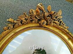 Joli cadre ovale doré 19 ème fronton fleuri photo petite fille 19 ème