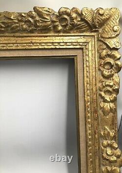 MAGNIFIQUE Cadre Montparnasse patine dorée BOIS SCULPTE toile 8F (Bouche.)