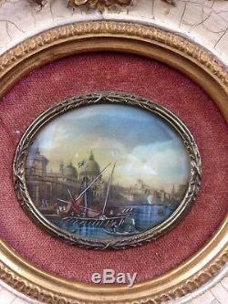 MINIATURE VUE du CANAL de VENISE XVIII BEAU CADRE BOIS SCULPTE DORE OLD PAINTING
