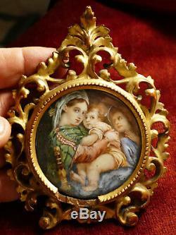 Miniature XVIIIe la Vierge à la chaise d'après Raphaël cadre bois doré Louis XV
