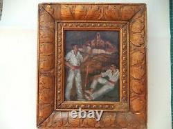 Miniature peinture vintage/Pays Basque/peinture sur panneau bois/cadre doré