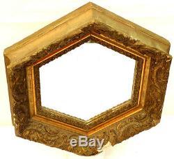 Miroir Cadre Hexagonal Platre Ouvragé Doré Sur Bois