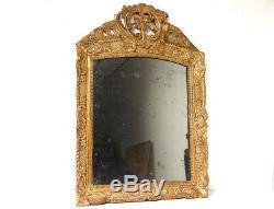 Miroir Régence glace cadre bois sculpté doré coquille fleurs mirror XVIIIè