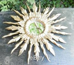 Miroir Soleil 1950 Cadre en Bois sculpté à Patine dorée