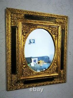 Miroir, cadre, stuc, bois, régence, baroque, 19 ème 51x44