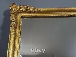 Miroir dans cadre XIXe s. Bois et stuc doré 39x32 cm, feuillure 33,5x26,5 cm SB