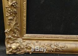 N° 570 CADRE Restauration Bois doré XIXème pour chassis 61,3 x 49,8 cm