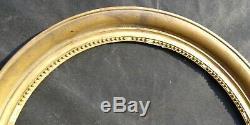 N° 585 CADRE Ovale Restauration Bois doré XIXème pour chassis 66,5 x 57,5 cm
