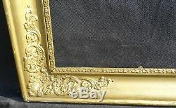 N° 587 CADRE Restauration Bois doré XIXème pour chassis 66,5 x 55,3 cm