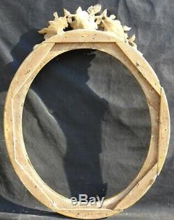 N° 659 CADRE Ovale Restauration Bois doré XIXème pour chassis 68,5 x 58,3 cm