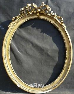 N° 660 CADRE Ovale Bois doré XIXème siècle pour chassis 73,5 x 60,5 cm