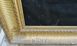 N° 690 CADRE à Canaux XIXème bois doré à la feuille pour chassis 74,5 x 62,5 cm