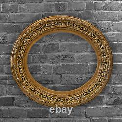 Ovale Cadre Ancien de XIXéme en bois ajouré et doré Feuillure 52 x 43,5 cm