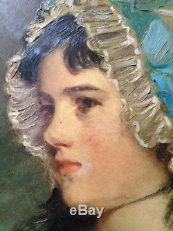 PEINTURE SUR BOIS JOHN HOPPNER PORTRAIT DE MRS WILLIAMS CADRE OVALE Doré